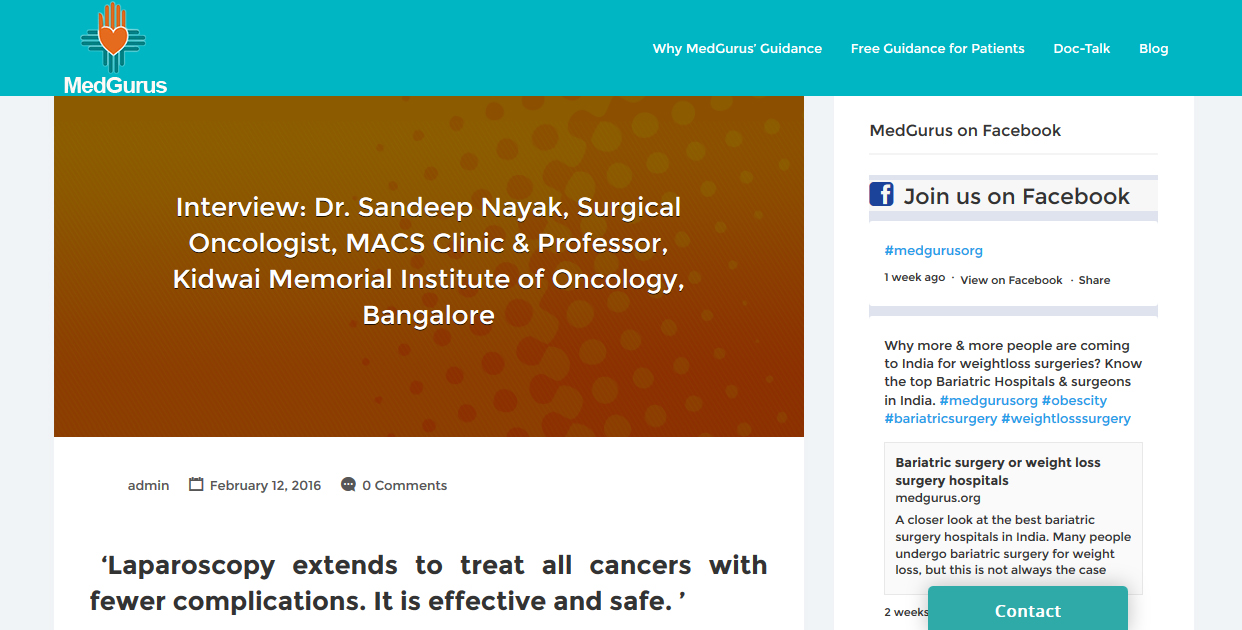 Laparoscopy extends to treat all cancers with fewer complications. It is effective and safe.