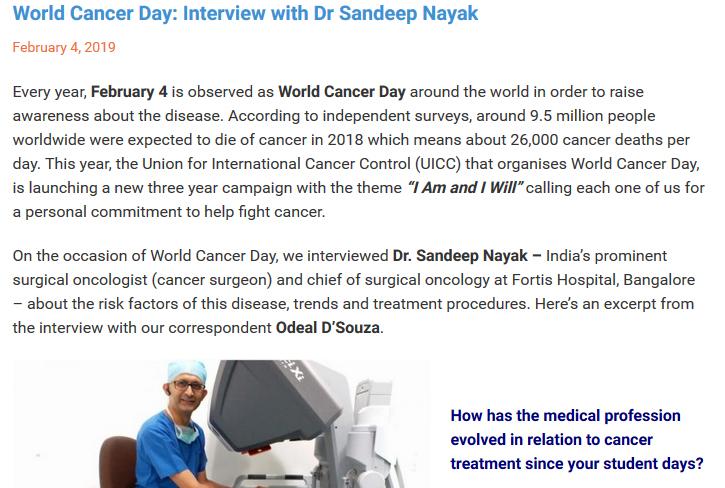 Dr Sandeep Nayak : World Cancer Day