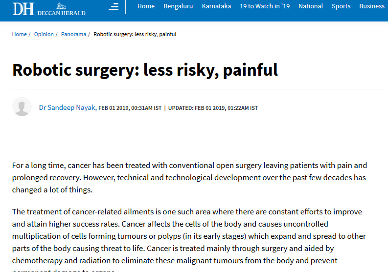 Dr Sandeep Nayak : Robotic surgery: less risky, painful
