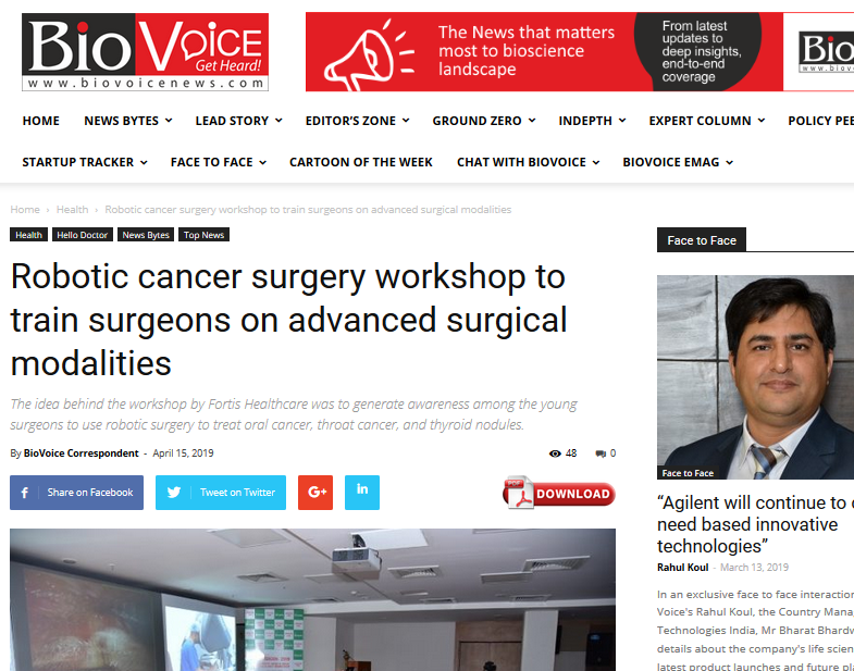 Robotic cancer surgery workshop to train surgeons on advanced surgical modalities