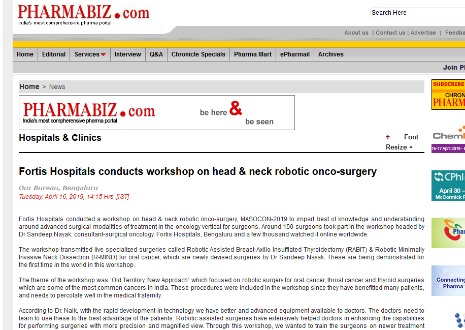Fortis Hospitals conducts workshop on head & neck robotic onco-surgery