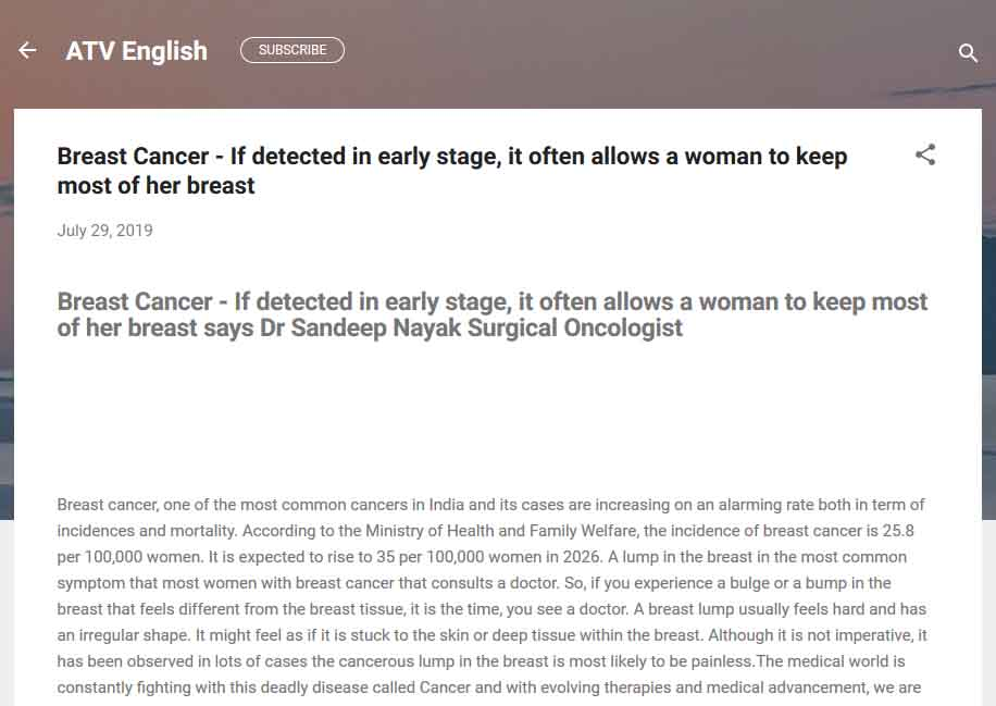 ATV English : Breast Cancer - If detected in early stage, it often allows a woman to keep most of her breast